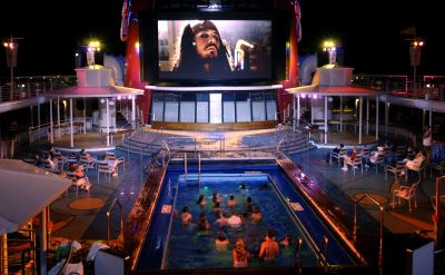 Disney Wonder movies by the pool