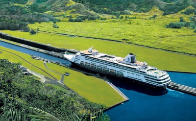Panama Canal cruise ship in lock